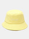Unisex Cotton Letter Pattern Embroidery Solid Color Simple Bucket Hat - Yellow