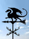 Garden Farm Iron Rooster Dragon Dog Horse Home Weathercock Weather Vane Wind Direction Indicator Yard Measuring Tools - #01