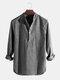 Mens Cotton Stand Collar Long Sleeve Henley Shirt - Black