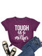 Mother' Day Letters Print O-neck Short Sleeve T-Shirt For Women - Purple