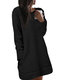 Solid Color Plush Long Sleeve O-neck With Pocket Fluffy Sweater Dress For Women - Black