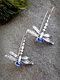 Vintage Alloy Insect Dragonfly-shape Women Earrings - Blue.