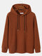Mens Knitted Ribbed Texture Long Sleeve Casual Drawstring Hoodie - Brown