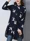 Print Turn-down Collar Buttons Long Sleeve Shirt For Women - Navy Blue