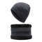 Men Winter Wool Velvet Knit Cap Warm Vogue Outdoor Casual Snow Ski Cycling Beanie Scarf Suit - Grey
