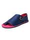 Large Size Women Retro Solid Color Buckle Clip Toe Flat Sandals - Dark Blue