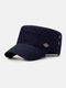 Men Cotton Solid Color Casual Sunshade Peaked Cap Army Hat Military Hat - Navy