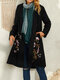 Floral Embroidery Vintage Lapel Collar Coat For Women - Black