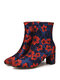 SOCOFY Elegant Floral Printed Satin Comfy Side Zipper Fashion Chunky Heel Short Boots - Red