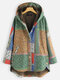 Bohenmia Print Patchwork Long Sleeve Hooded Plus Size Coat - Yellow