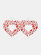 Vintage Drop-Shape Hollow Valentine's Day Heart PU Leather Earrings - #07