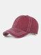 Men Washed Cotton Plain Color Baseball Cap Outdoor Sunshade Adjustable Hat - Wine Red