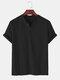 T-shirt décontracté à col en V de couleur unie 100% coton pour hommes - Noir