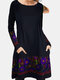 Calico Print Patchwork Long Sleeve Casual Dress For Women - Purple