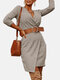 Solid Color V-neck Long Sleeve Casual Dress With Belt - Khaki