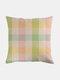 Classic Plaid Pattern Linen Cushion Cover Home Sofa Art Decor Throw Pillowcase - #02