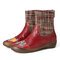 SOCOFY Check Woolen Splicing Floral Embossed Genuine Leather Flat Short Boots - Red