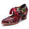 SOCOFY Super Comfy Bloom Rose Couture Lace Up Casual Dress Leather Pumps pour les femmes