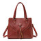 Women PU Leather Tassel Handbag Leisure Solid Crossbody Bag