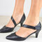 Women's Large Size Retro Casual Solid Color Pointed Toe Low Heels - Black