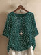 Vintage Floral Print Button Half Sleeve Blouse For Women - Green