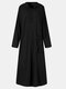 Women Solid Color Pocket Button Long Sleeve Hooded Casual Dress - Black