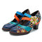 SOCOFY Bohemian Hand Painted Cow Leather Splicing Jacquard Hook Loop Floral Mid Heel Pumps