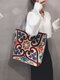Casual Canvas Flower Print Pattern Multi-color Handbag Tote With Zipper Inner Pocket - #04