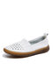 Women Comfy Soft Pu Leather Breathable White Flat Shoes - White 3