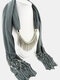 20 Colors Bohemian Women Scarf Necklace Shawl Autumn Winter Tassel Pendant Necklace - #15