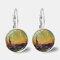 Vintage Geometric Round Oil Painting Series Earrings Metal Glass Gem Daisy Pendant Ear Clips - 8