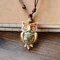 Vintage Geometric Rhinestones Owl Pendant Drawstring Necklace Ethnic Handmade Ceramic Adjustable Long Necklace - Coffee