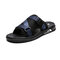 Men Soft Sole Opened Toe Ribbon Decoration Casual Slides Slippers - Blue