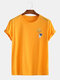 Mens Cotton Funny Astronaut Print Casual Short Sleeve T-Shirts - Yellow