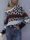 Patch Leopard Printed O-neck Pullover Knitted Sweater For Women - Black
