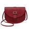 Women Solid Casual PU Crossbody Bag Shoulder Bag - Red