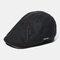 Men's Knit Hat Padded Warm Beret Caps Casual Outdoor Visor Forward Hat - Black