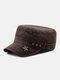 Men Denim Embroidery Print Star Decor Sunshade Outdoor Military Hat Flat Hat Peaked Cap - Coffee
