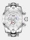 Large Dial Men Business Watch Multifunctional Luminous Calendar Waterproof Quartz Watch - White Dial Silver Band