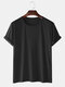 Mens Solid Color Cotton Round Neck Short Sleeve Casual Basic T-Shirts - Black