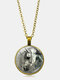 Vintage Glass Printed Women Necklace Horse Head Pendant Sweater Chain Jewelry Gift - Bronze
