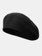 Women Knitted Solid Color All-match Octagonal Hat Beret - Black