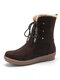 Women Winter Suede Plush Lined Stitching Side Zipper Lace Up Flat Short Boots - Coffee