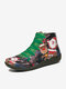 Christmas Pattern Comfort Splicing Zipper Ankle Casual Boots For Women - Black
