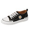 Women Daisy Embroidered Breathable Skate Shoes Casual Flat Shoes - Black2