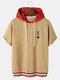 Designer Mens A Poker Embroidery Patchwork Casual Drop Shoulder Hooded T-Shirt - Yellow