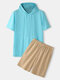 Preppy Style Solid Color Kangaroo Pocket Plain Casual Hooded Two Pieces Outfits - Blue