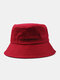 Unisex Cotton Solid Color Letter Embroidered Fashion Sunshade Bucket Hat - Wine Red