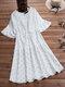 Polka Dot Print Elastic Waist Ruffle Sleeve Plus Size Casual Dress - White
