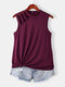 Cut Out Solid Half-Collar Plus Size Tank Top - Rose